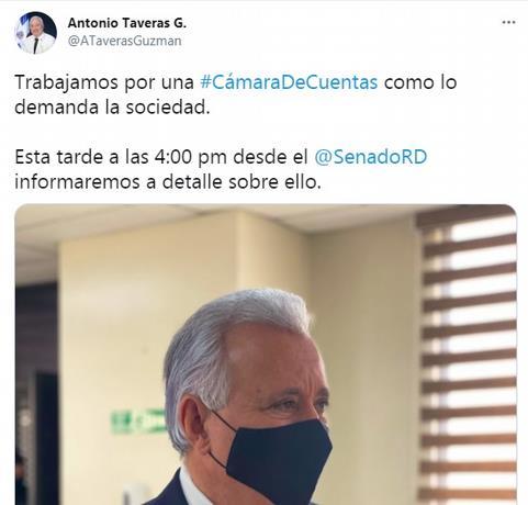 """Senador Antonio Taveras: """"Habemus Cámara de Cuentas"""""""