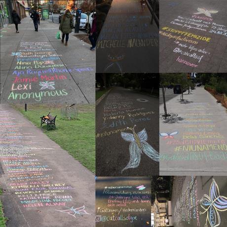 Activistas de todo el mundo dibujan mariposas en honor a las víctimas de violencia de género